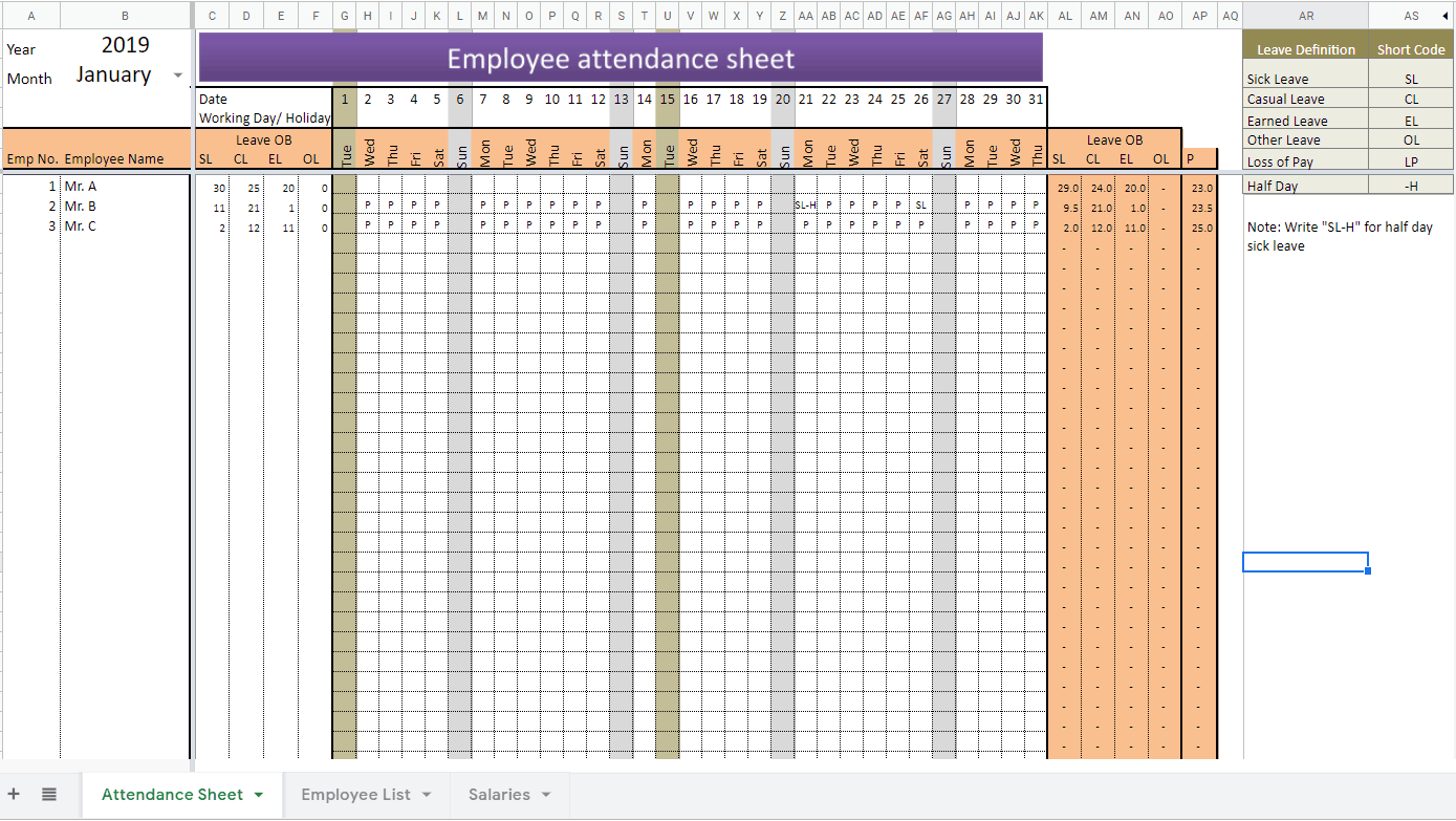 Attendance Sheet In Excel With Formula Free